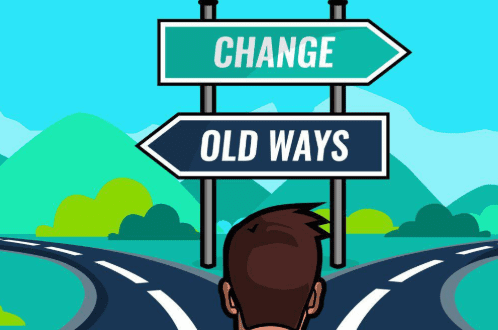 a sign post with two signs one pointing left and one pointing right, the right says chance the left says old ways